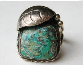 HOLIDAY SALE Vintage Old Pawn Silver Fred Harvey Era Turquoise Navajo American Indian Ring size 6