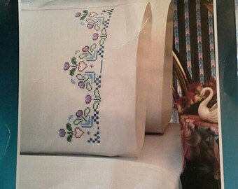 Border Beauty Pattern Stamped Embroidery Pair of Pillow Cases, Bucilla