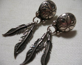 Vintage Sterling Silver Earrings with Feather Drops, Pierced