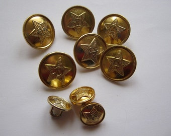 Set of 9 old soviet military metal uniform buttons