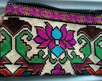 Uzbek silk hand embroidery purse Mascot. Cross stitch emboidery