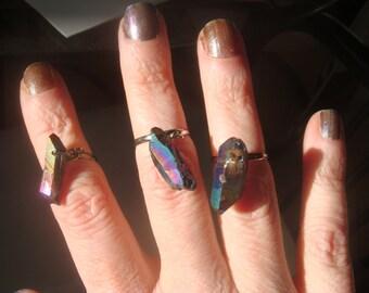 Rainbow Titanium Crystal Midi Ring - Crystal Ring