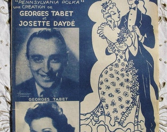 Vintage 1940's Illustrated French Song / Sheet Music - La Polka de Grand Papa (Pennsylvania Polka)
