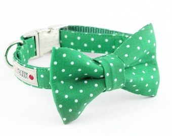 Kelly Green Dot Dog Bowtie Collar