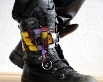 Unisex Leather Apocalypse Boot Garter  - Multi - steampunk - burning man - apocalypse - mad max, Please read Description for size