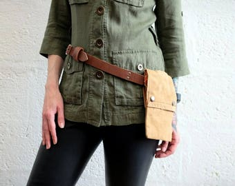 Unisex Leather Belt with Canvas Bag - Brown/Sand - steampunk - burning man - festivals - apocalypse Please read Description for size