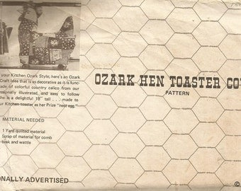 """Vintage Ozark Mountain Craft Pattern """"Hen Toaster Cover and Can Opener Cover"""""""