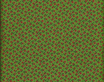 Vintage Green Calico Fabric  1 yard