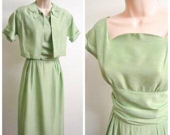 1950s Pastel green silk day dress & jacket / 50s rhinestone bolero dress suit - XS