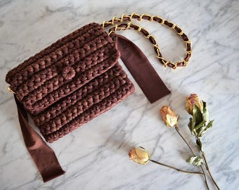 Crochet brown bag Lycra summer purse Opera clutch Handmade bag
