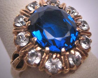 Antique Sapphire Wedding Ring Vintage Art Deco c.1920 14K Gold