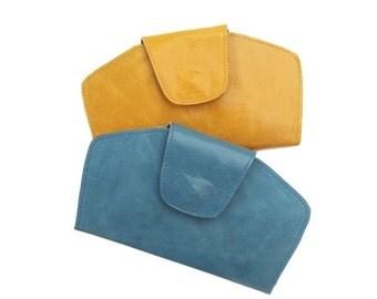 Blue Leather Purse, Leather wallet purse, blue Clutch Bag, Leather Wristlet Clutch, Wallet Clutch, Evening Purse, Leather Wristlet Purse