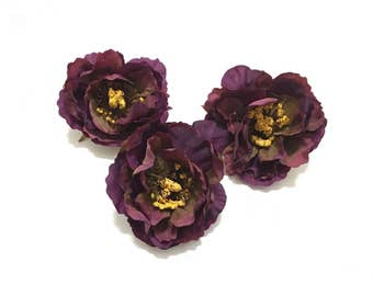 3 Small Deep Purple Peonies - Arificial Flowers, Silk Flowers, Wedding Flowers, Hair Accessories, Flower Crown, Millinery, Bouquet, Corsage