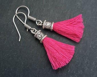 Mini Hot Pink Tassel Drop Earrings - Bohemian Boho Style Light Comfortable Daytime Jewelry - Authentic Turkish Style