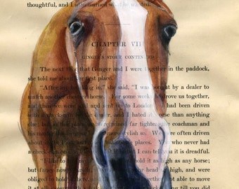 Nosey Horse - Original Watercolor Painting on Antique Book page - size: 6.5x 8.5in
