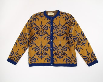 VINTAGE 1960s Cardigan Ornate Knit Blue Gold