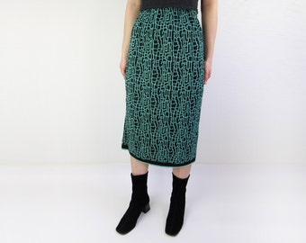 VINTAGE 1980s Sweater Skirt Black Green Knit