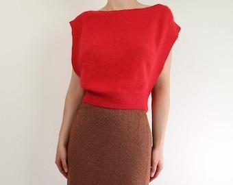 VINTAGE Angora Sweater Crop Top Sleeveless 1980s