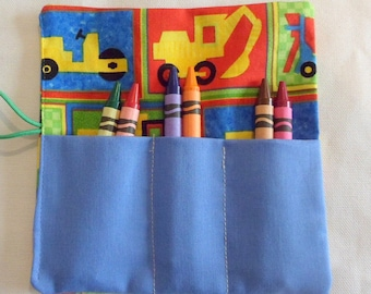 Crayon Roll-Up , Kids Birthday Party Favor Truck Fabric Crayon Wallets 6 Crayons Included Gift for Boys