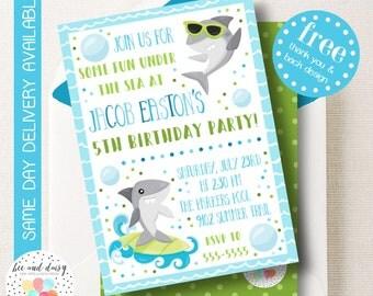 Shark Invitation, Shark Birthday Invitation, Shark Birthday Party, Shark Party Invitation, Boys Under the Sea Shark Invite, BeeAndDaisy