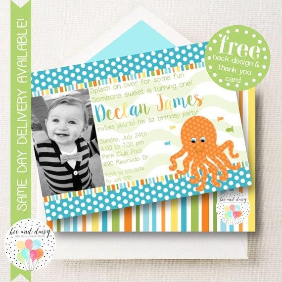 Octopus Invitation, Octopus Birthday Invitation, Octppus Party, Boy First Birthday, Boy Birthday, Octopus Invite, Photo Invitations