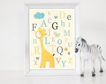 Gender Neutral Nursery, Art Decor For Kids, Gender Neutral Nursery Art, Baby Giraffe, abc decor for kids, Alphabet, Gray Yellow teal, Grey