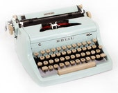 Vintage Blue Typewriter Royal Quiet DeLuxe Manual with Case Fully Serviced Working Typewriter