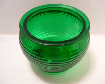 GREEN TOBACCO HUMIDOR Vintage Glass National Potteries, Cleveland Ohio - Candy Dish Bowl or Vase Retro Decor