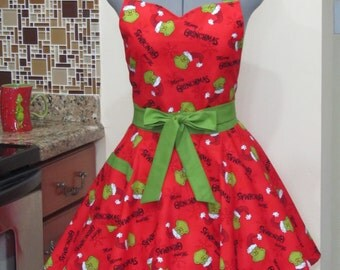 Grinchmas Apron on Red - With a hint of Green - Ready to ship
