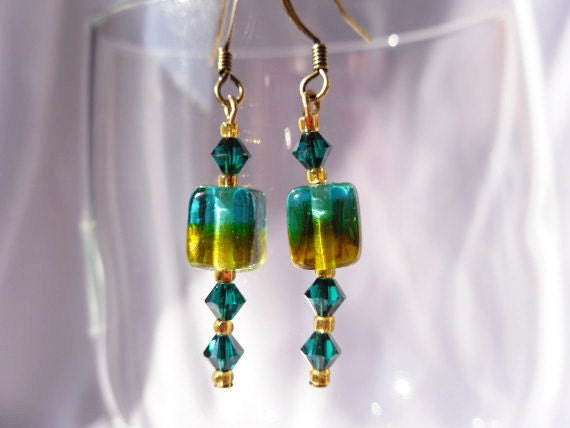 Green and Gold Beaded Earrings with Square Cane Glass Beads and Bicone Crystals