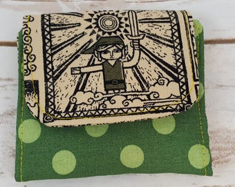 Mini Slimline Wallet - Legend of Zelda - Link - Green Polka Dots