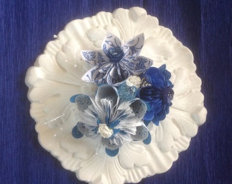 Paper Flower Centerpiece Mounted on a Millwork Rosette