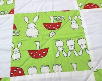 Bunny rabbit quilt, unisex baby quilt, baby shower gift, bunny rabbit blanket, playmat, modern childrens quilt, UK quilt shop