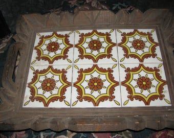 Vintage Mexican Tray Wood and Ceramic Tiles Retro Boho Decor 1970's Hippie Style Ethnic
