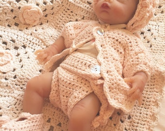 Baby infant layette crochet cotton outfit and cabbage rose blanket for your newborn, silicone, or reborn baby