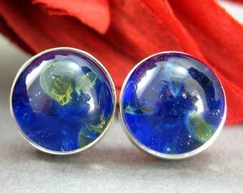 Blue Glass Earrings - Calming Waters Inspired - Sterling Silver - Handmade Jewelry