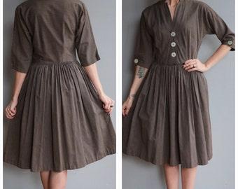 1950s Dress // Tailored Jr Pinstripe Dress // vintage 50s dress