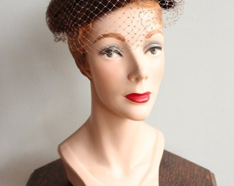 1950s Hat // December Mink Hat with Netting // vintage 50s fascinator hat