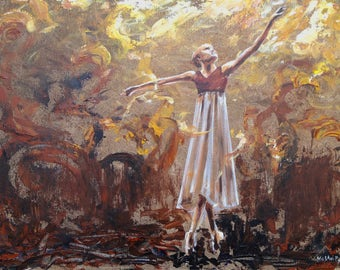 Ballerina painting Clothed with Joy original art on canvas with ballet dancer with abstract background in brown and gold
