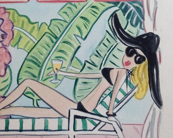 NEW California Vogue Poolside | The Beverly Hills Hotel Print of Watercolor | Hollywood California banana trees art pink tropical art poodle