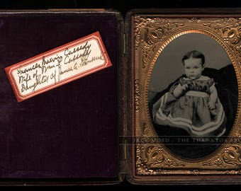 Two ID'd Townsend Family Photos 1/6 Dag of Young Woman & 1/4 Ambrotype of Her Daughter