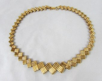 "Napier Choker Necklace - 17"" Goldtone Intwined Design - 1970s"