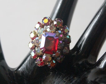 Vintage Red Rhinestone Adjustable Ring