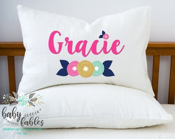 Personalized Pillowcase, Floral Pillowcase, children's pillowcase, camping pillow, little girl room decor, girl birthday gift, sleepover