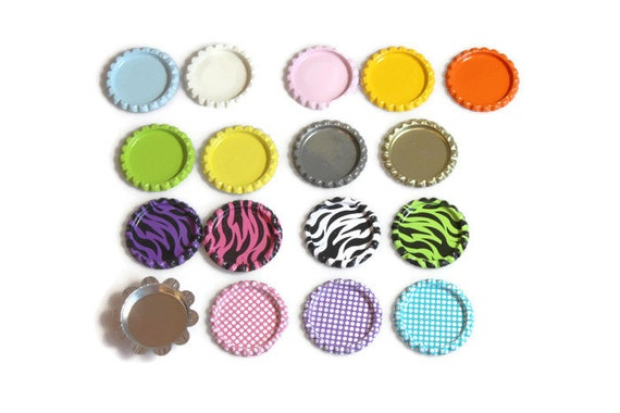 "Flattened 1"" Bottle caps Double sided  - Set of 10, 25 or 50- CLEARANCE - Please read entire description - Wholesale bottle caps"