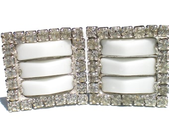 Rhinestone Clip Earrings Milk Glass and Clear Stones on Square Silver Tone - Vintage Jewelry