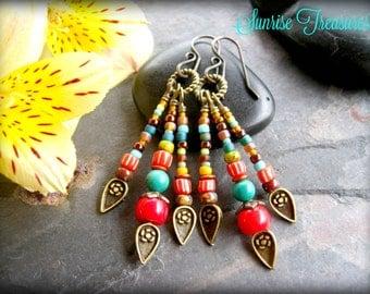 Red Coral Earrings, Natural Turquoise Earrings, Southwest Earrings, Earthy Rustic Multi Colored Seed Bead Earrings, Southwest Jewelry