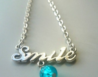 Smile Necklace with Birthstone Coloured Bead - unique gift