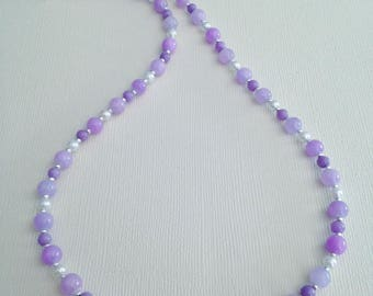 Candy Jade Purple and White Pearl Necklace