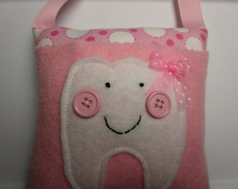 Girls Tooth Fairy Pillow Pink Dots, hanging tooth pillow